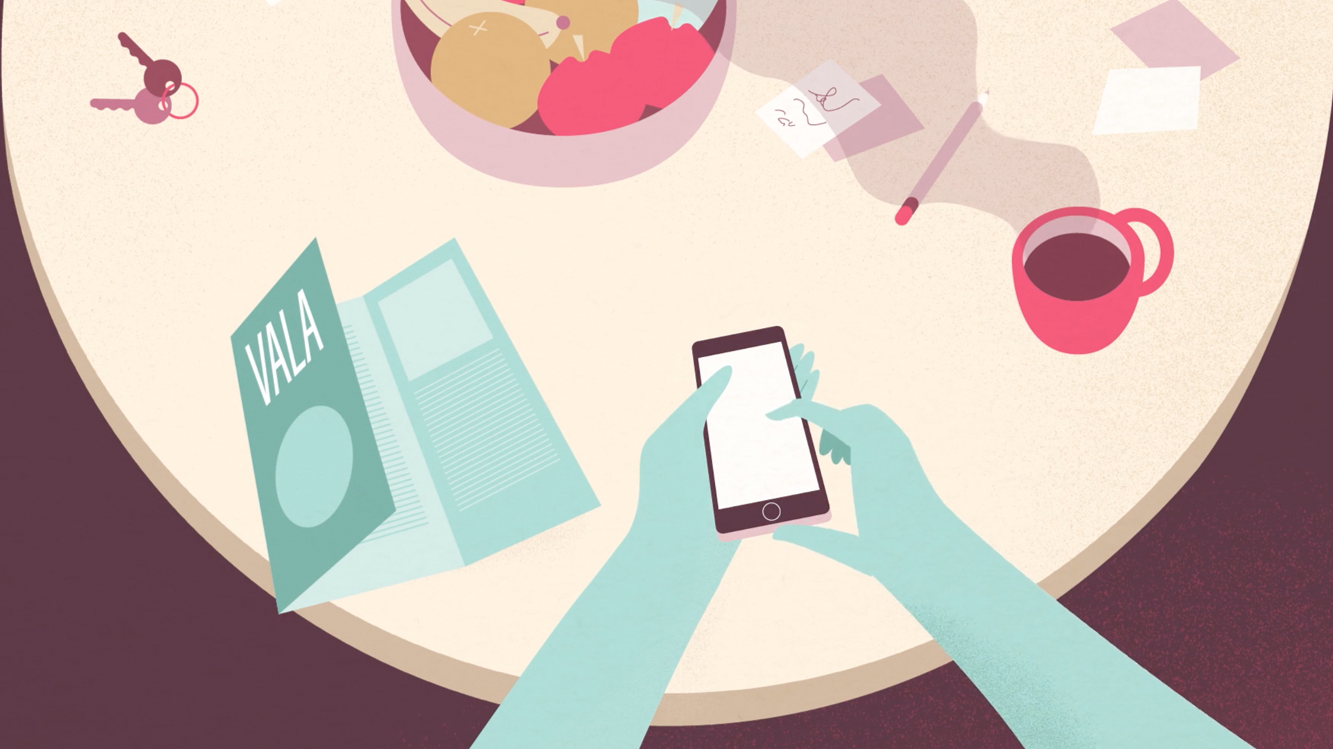 A style frame from an animated video, featuring hands of a person on their mobile phone above a table with fruit, coffee, a pencil and a steaming cup of coffee.