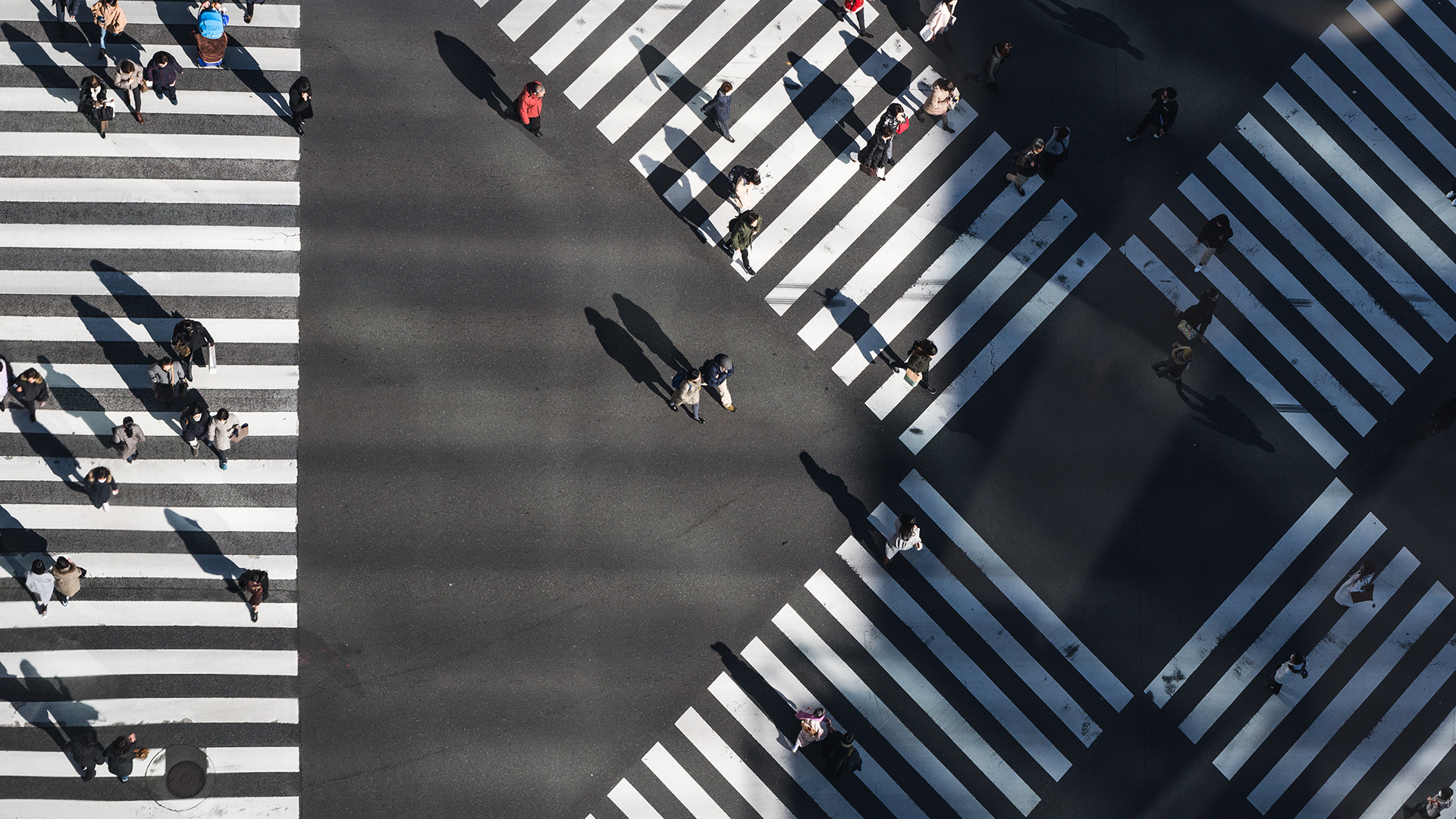 An aerial image of scattered people walking across a city intersection.